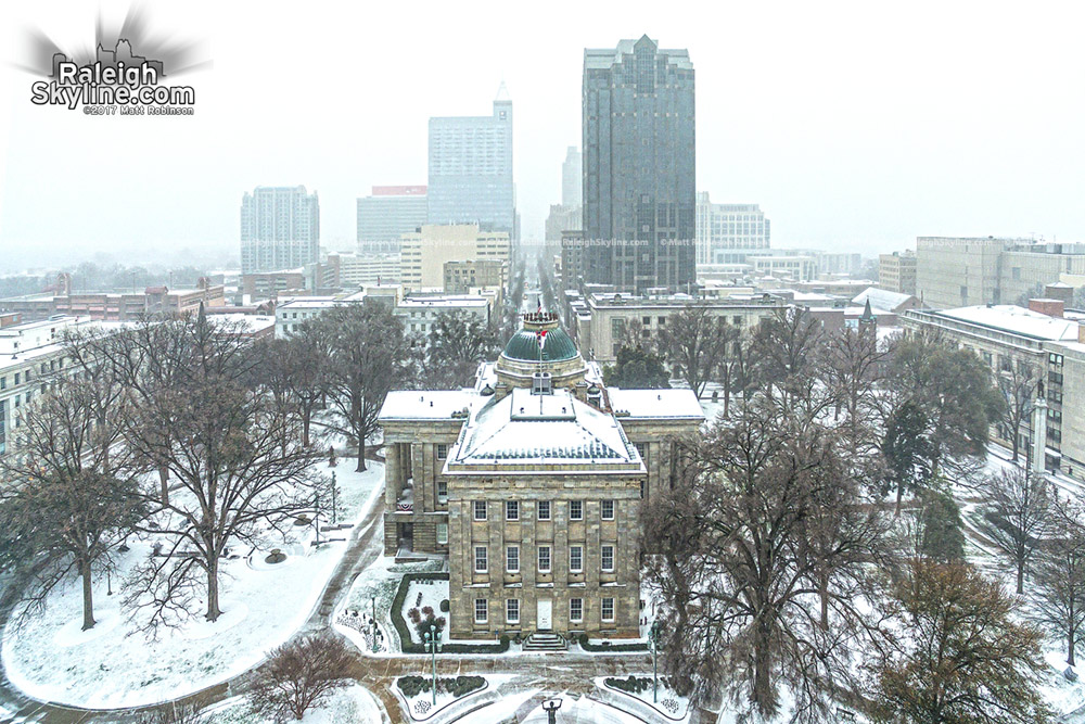 The North Carolina State Capitol And Downtown Raleigh During A Snowstorm On January 7 2017