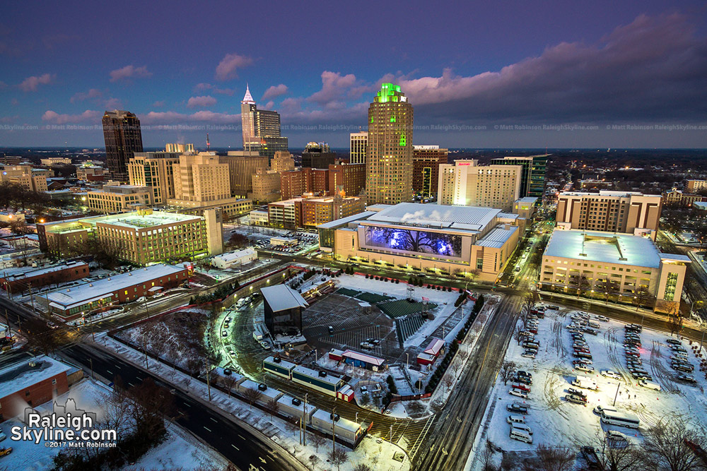 Downtown Raleigh at sundown after snow
