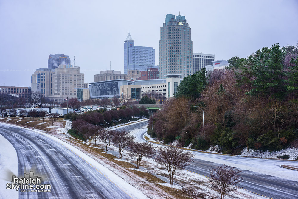 Raleigh Skyline before more snow in the morning
