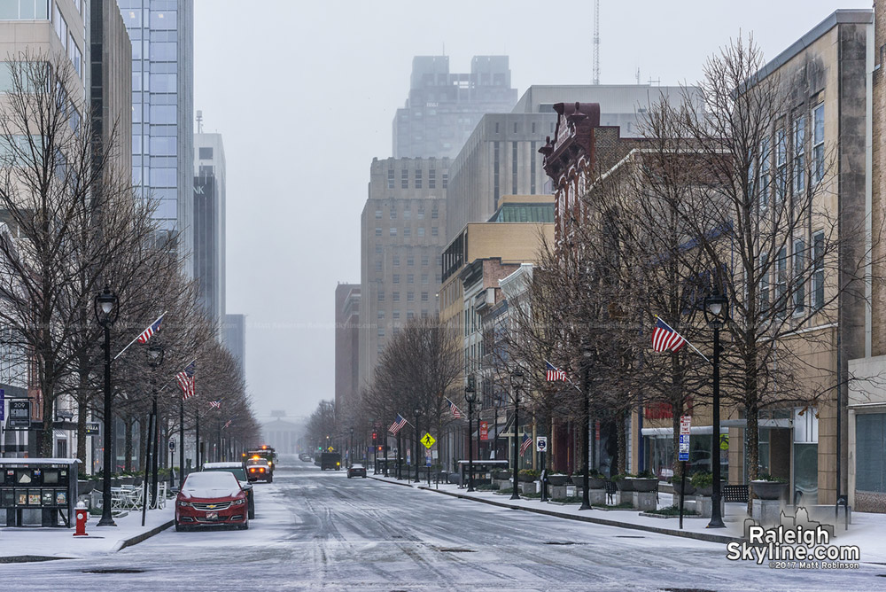 Fayetteville Street looking south during the snowstorm