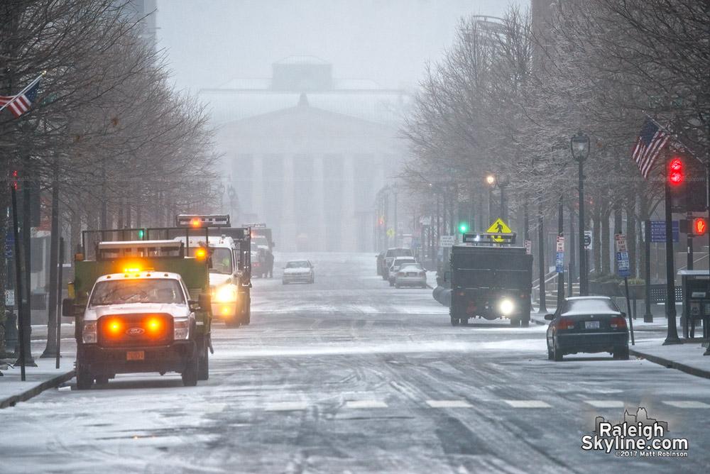 Raleigh Memorial Auditorium fades into the snow
