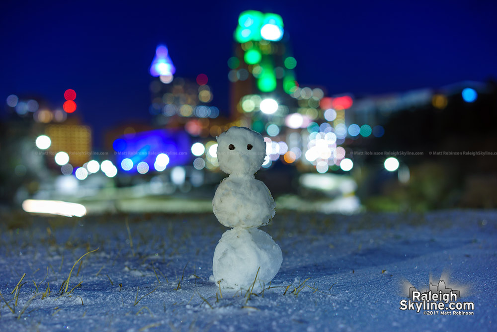 Mini snowman and Raleigh
