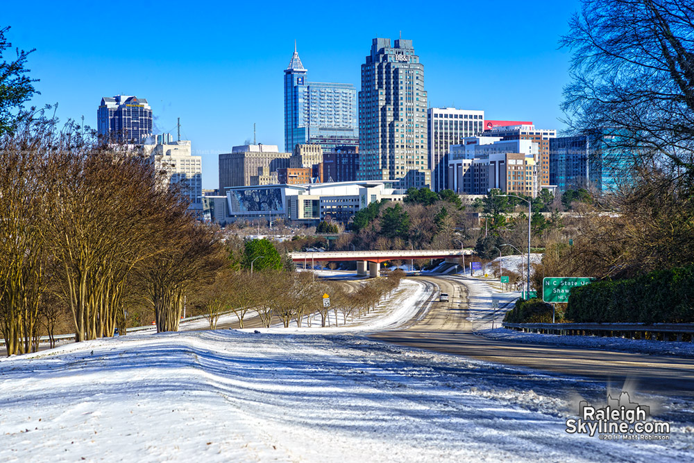 Blue skies after the snowstorm passed with Raleigh