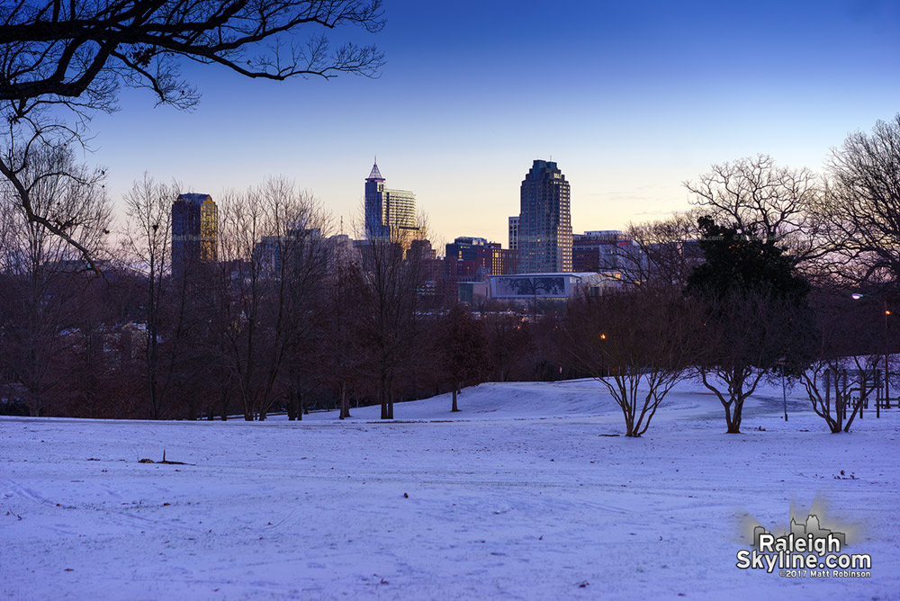 Before sunrise at Dix Hill with snow