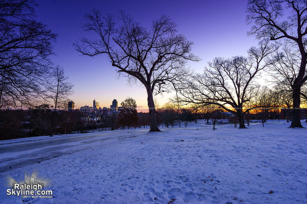 Raleigh snowy sunrise
