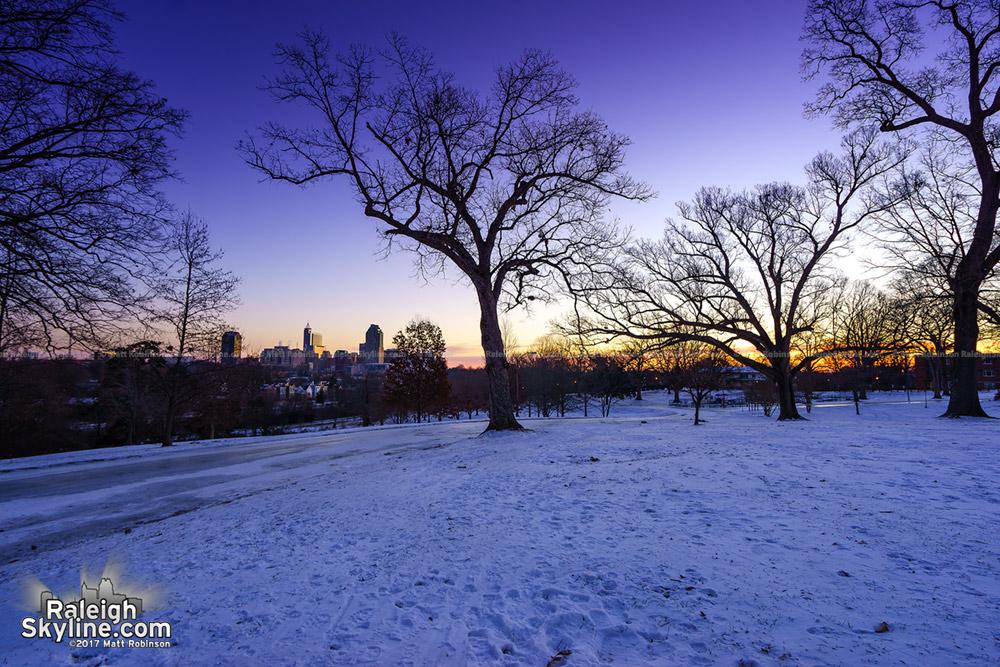 Raleigh snowy sunrise