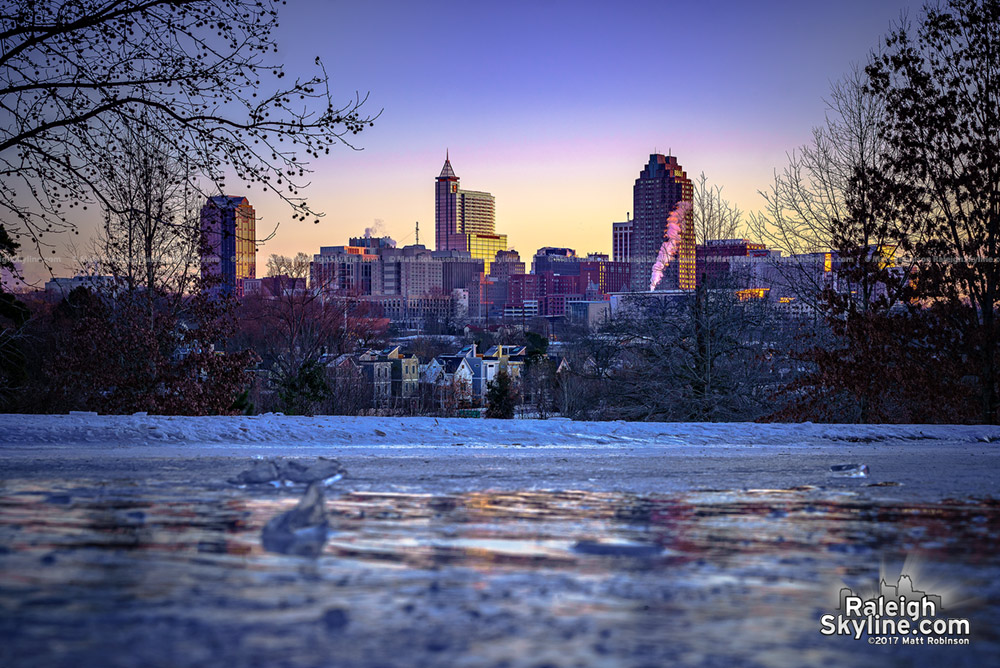 Frigid sunrise from Dix Hill with downtown Raleigh