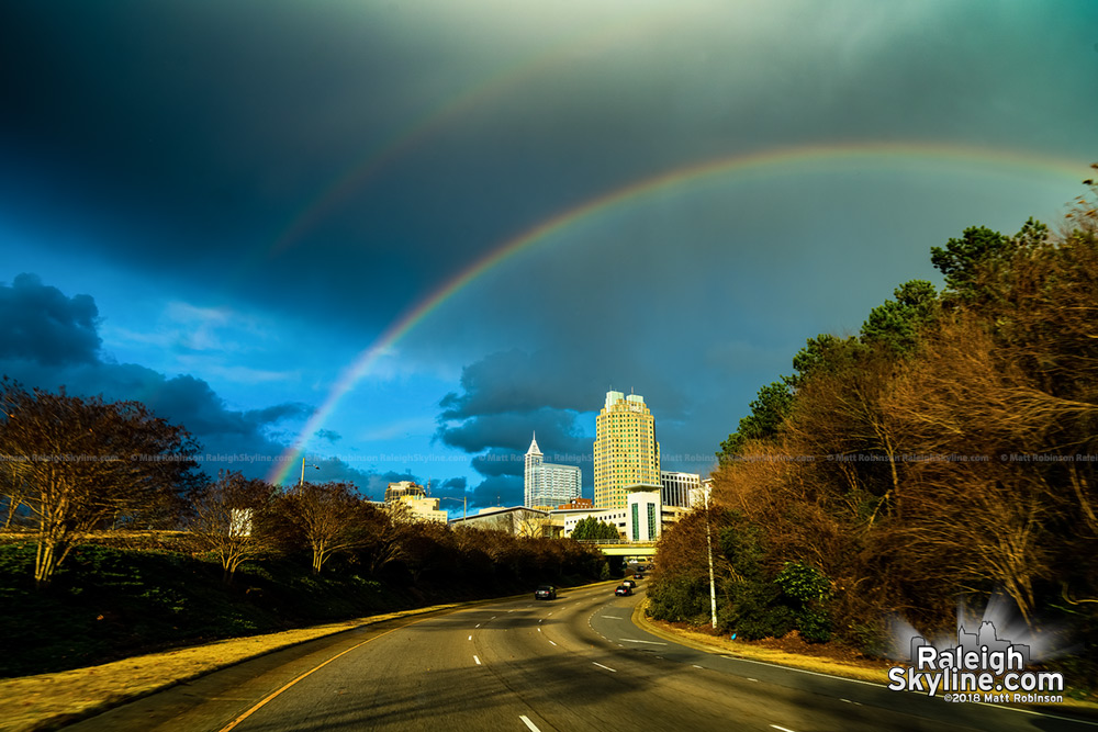 Winter Solstice Rainbow over the Raleigh skyline