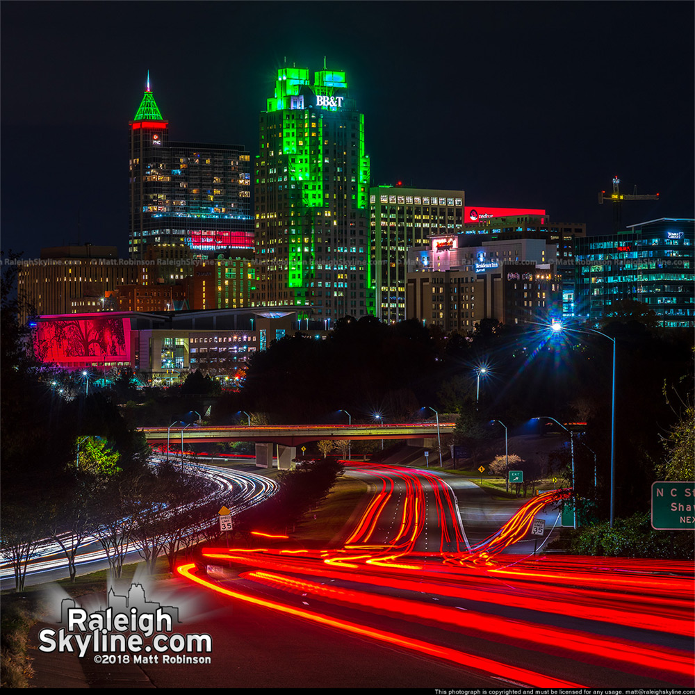 Downtown Raleigh lit up for the Holiday Season