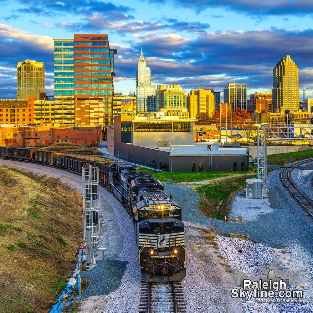 Norfolk Southern Train leaving Raleigh from Boylan Bridge