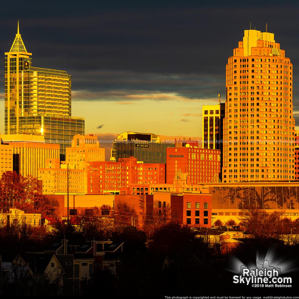 Closeup of sunlight downtown