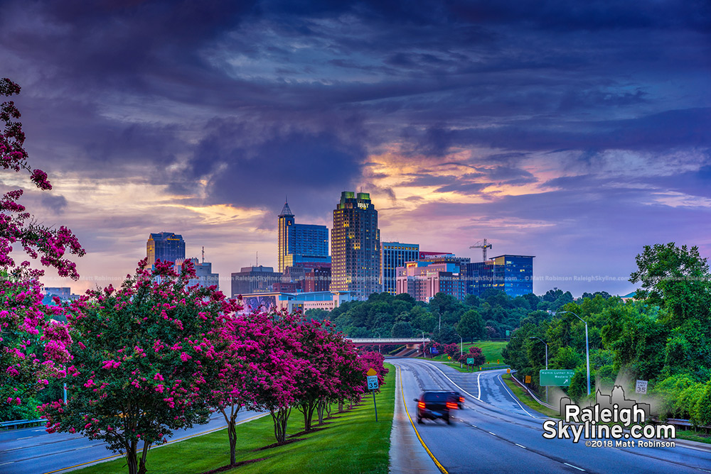Colorful skies over downtown Raleigh summer