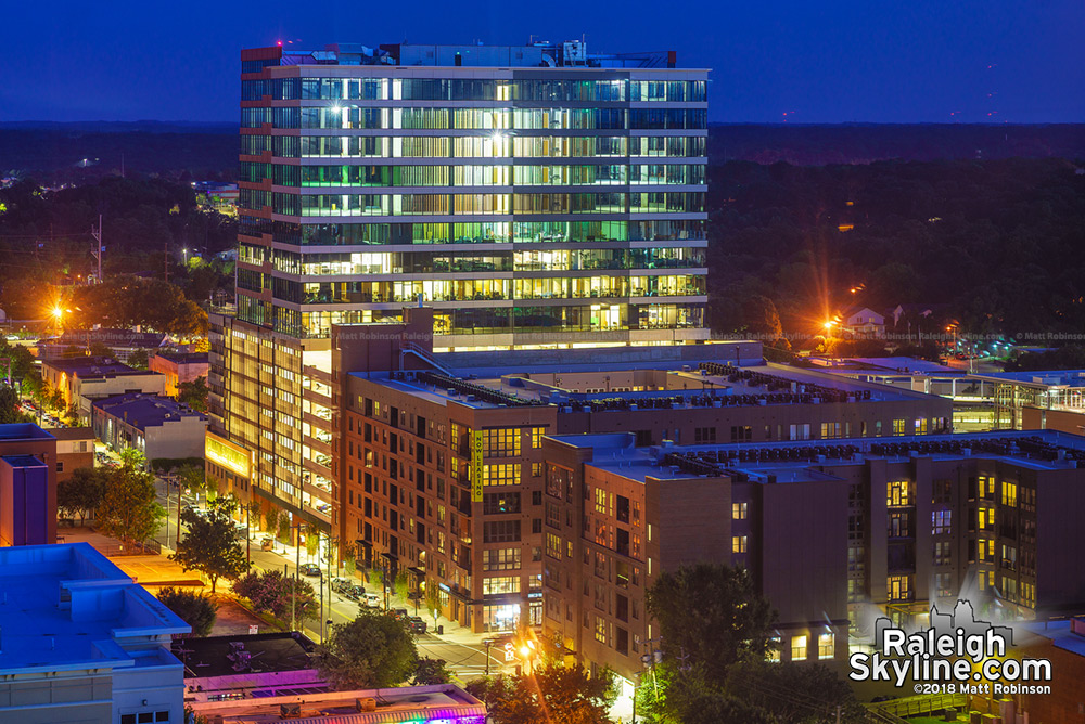 The Dillon at night from the Holiday Inn