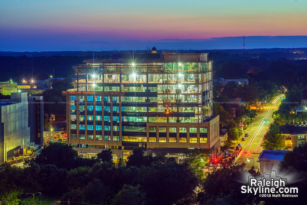 One Glenwood after sunset from the Holiday Inn