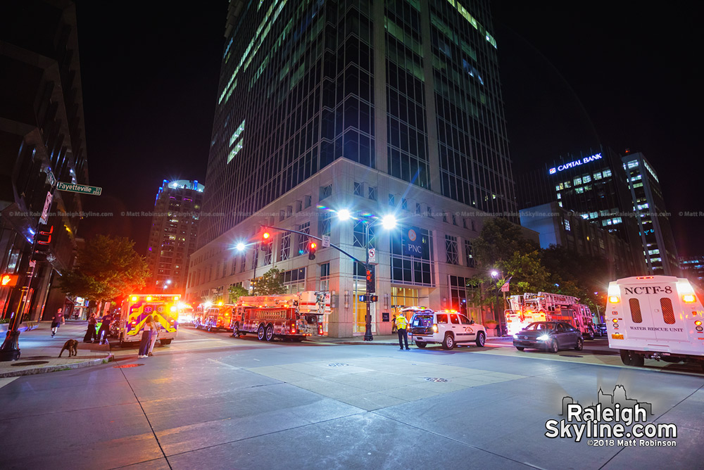 Large Raleigh Fire Department response at PNC Plaza