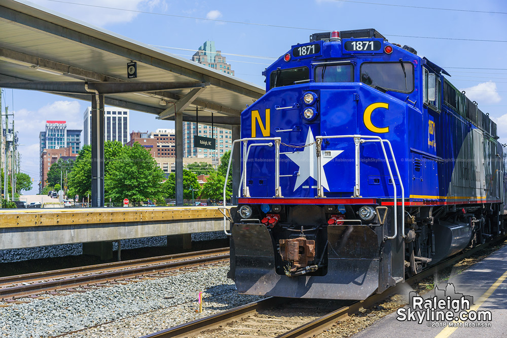 NC 1871 and the new passenger platform at Raleigh Union station