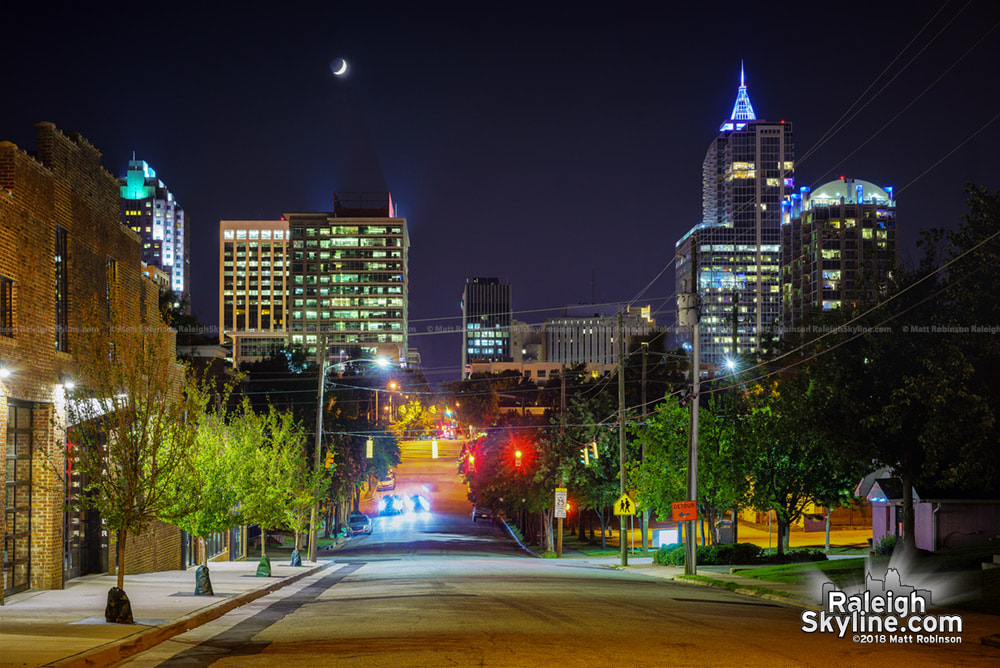 Crescent moonrise over Raleigh skyline from Davie Street