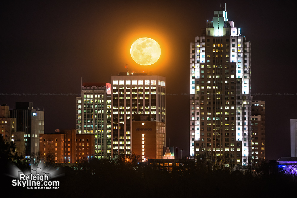 Moonrise over downtown Raleigh