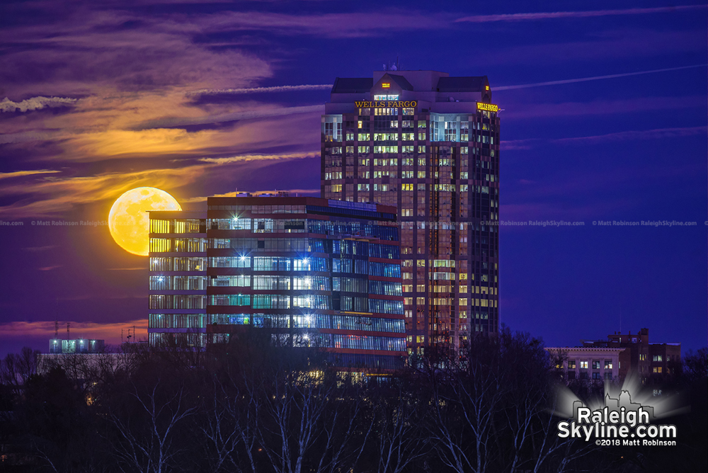 Supermoon rise behind the Dillon and downtown Raleigh
