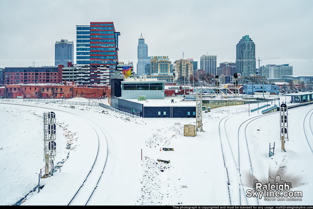 Raleigh skyline in the snow from the Boylan Wye