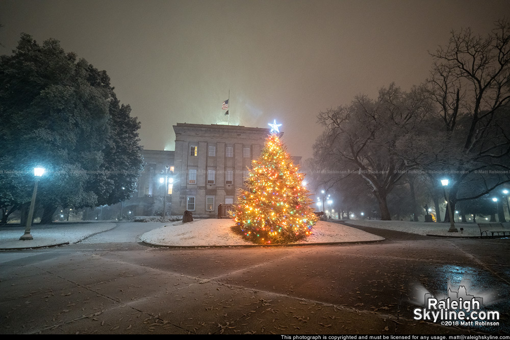 North Carolina State Capitol Christmas Tree in the Snow 12/09/18