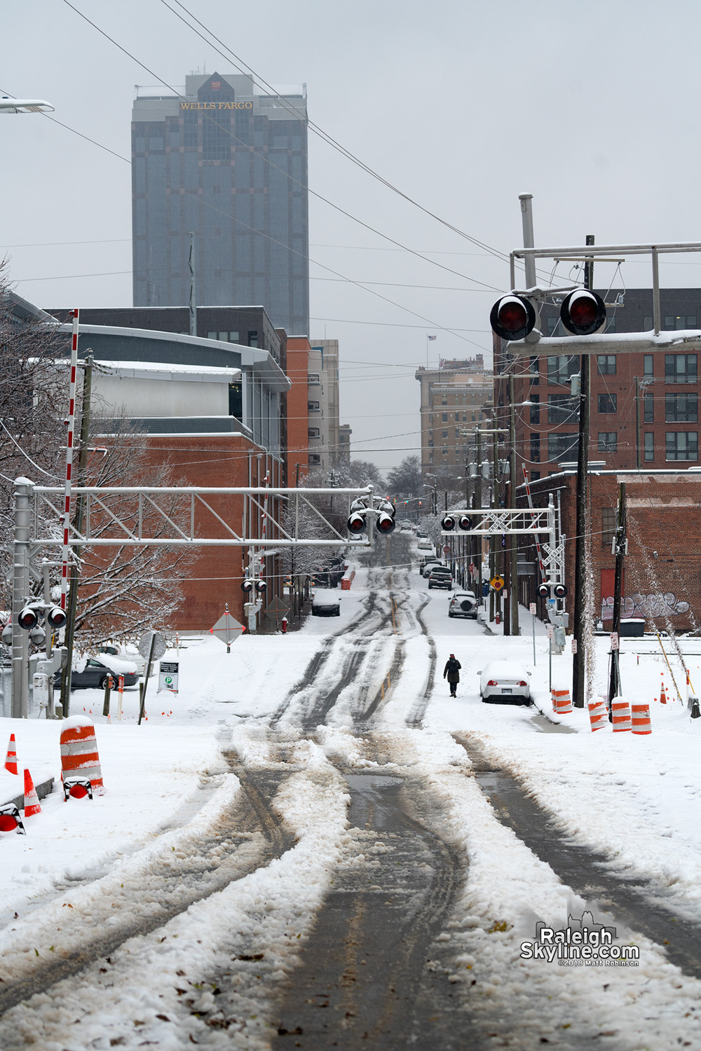 Hargett Street in Raleigh with snow