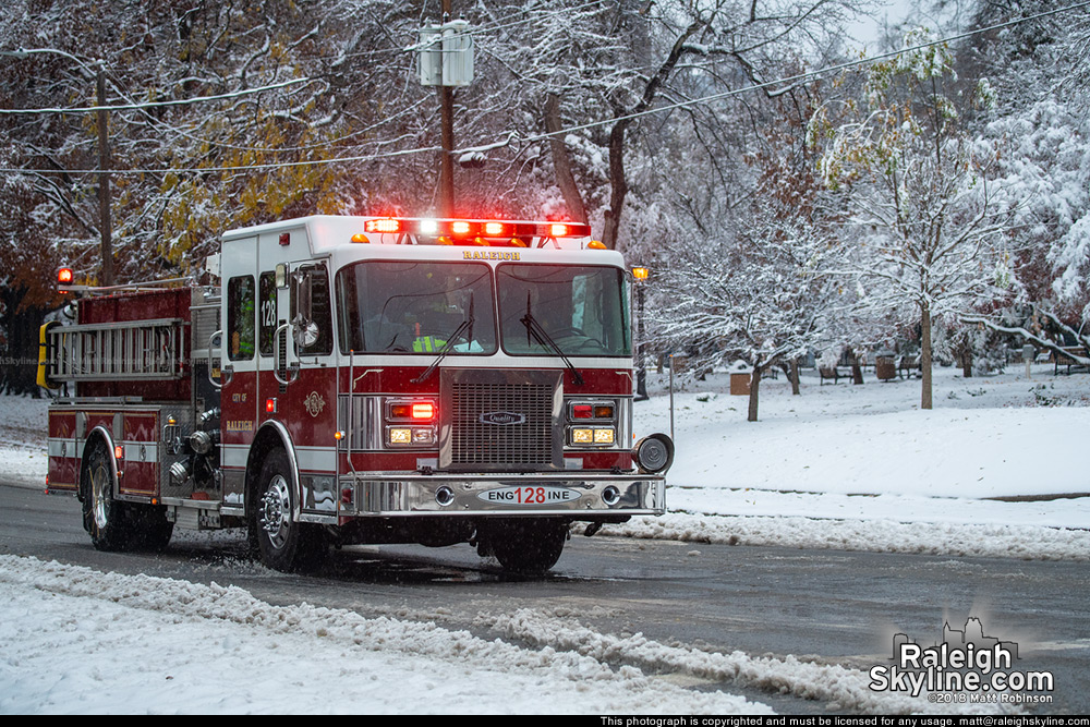 Raleigh Firetruck in the snow