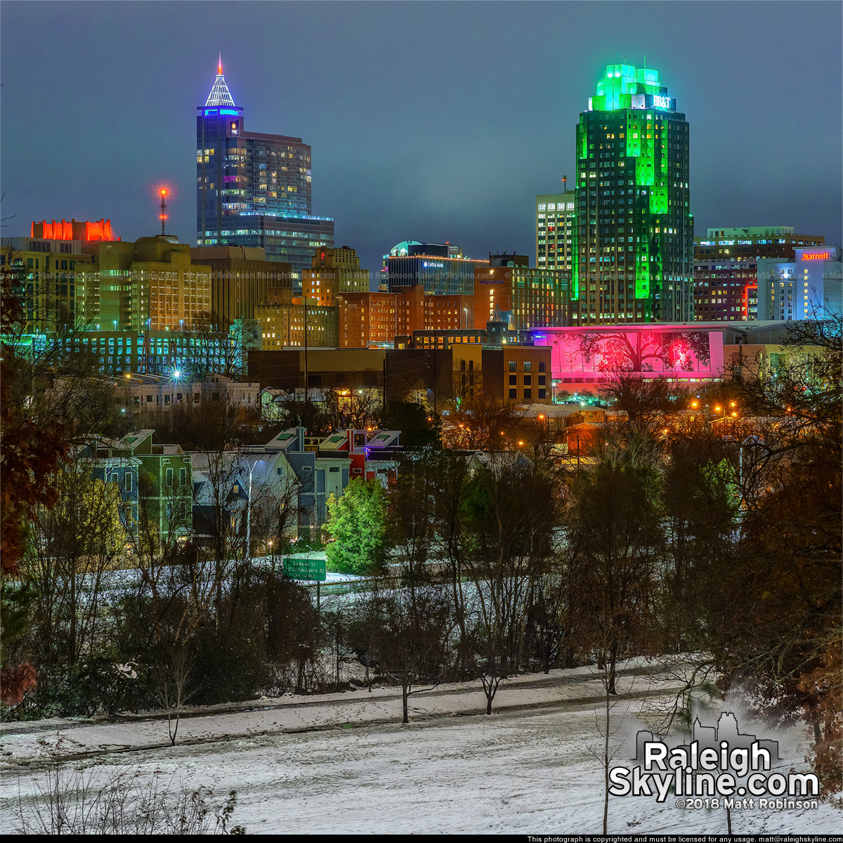 Downtown Raleigh from Dix Hill at night with snow cover