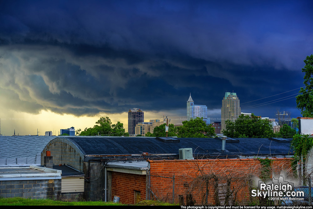 Dark storm rolling into downtown Raleigh