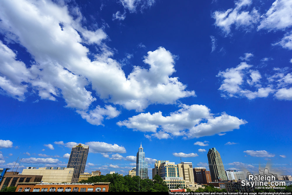 Blue Sky and clouds over Raleigh