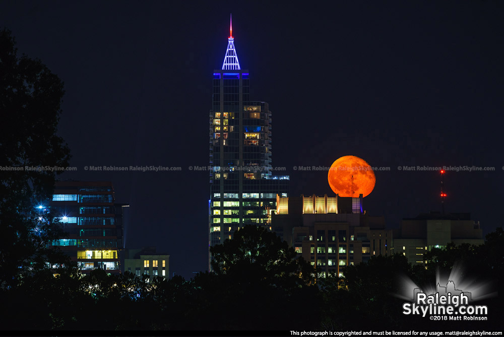 Orange moon behind Raleigh