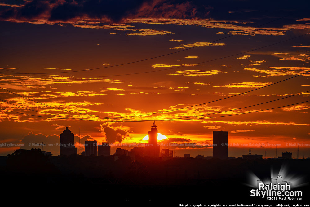 Front edge of Hurricane Florence provides this Raleigh Skyline sunset from Knightdale
