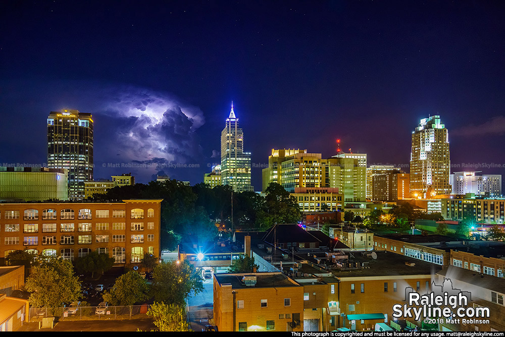 Lightning behind Raleigh from the Dillon