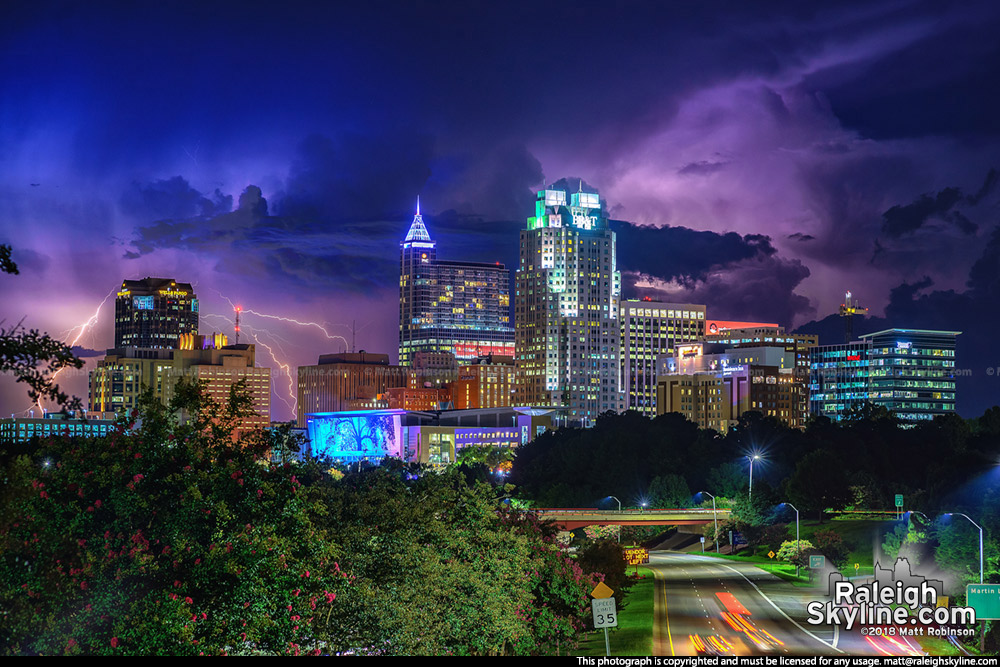 Lightning and Storms behind downtown Raleigh