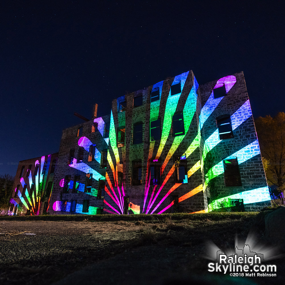 Art projections on the former St. Agnes Hospital at Saint Augustine's University in Raleigh tonight