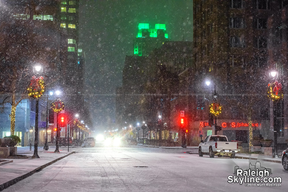 Freezing snow on Fayetteville Street
