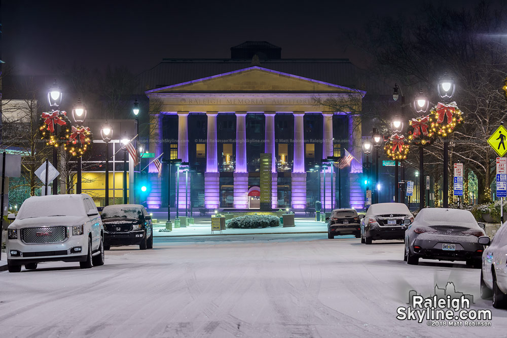 Raleigh Memorial Auditorium with snow