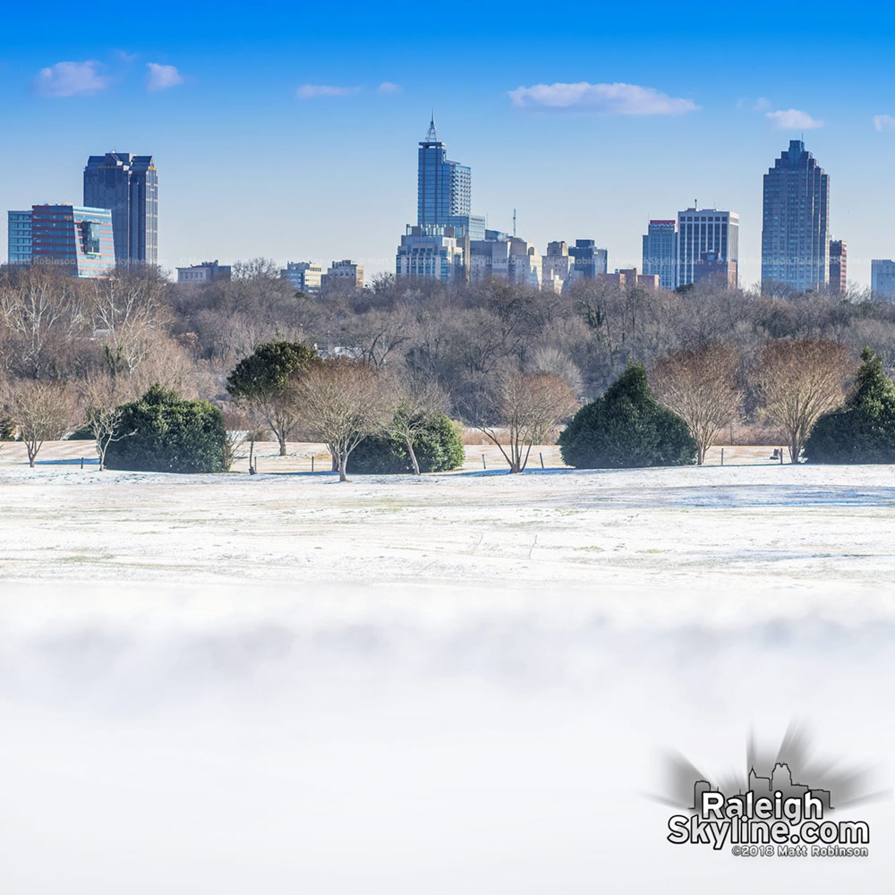 Raleigh from Dix Park with Snow in Jan 2018