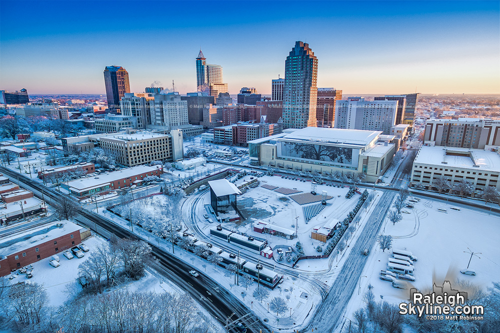Aerial view of the first morning sun on Raleigh and the snow cover