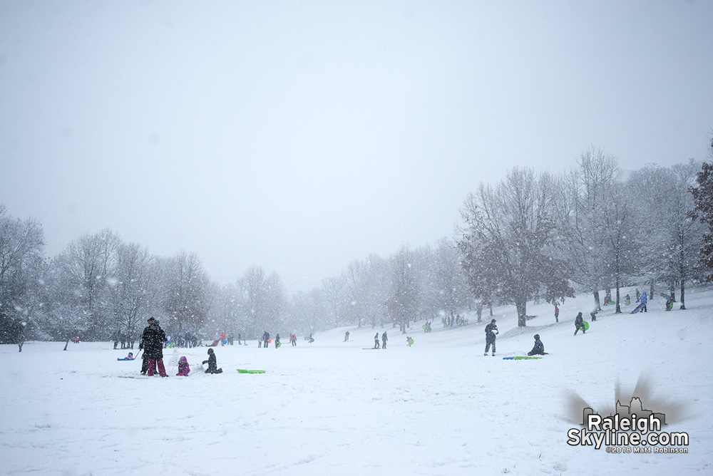 Winter wonderland at Dix Hill with sledders