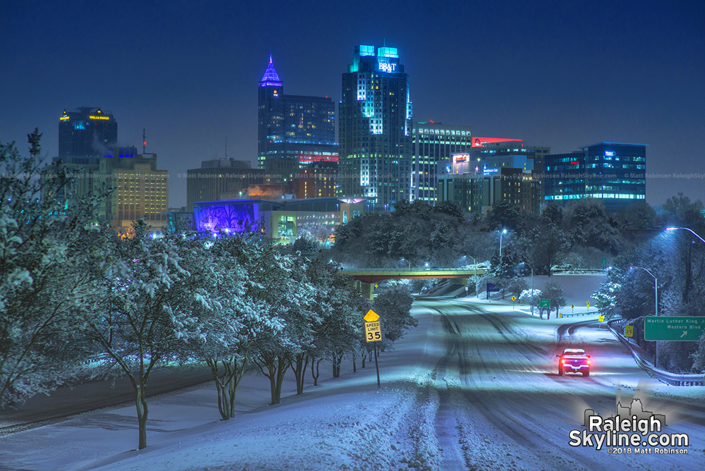 Raleigh Skyline Snow storm 2018