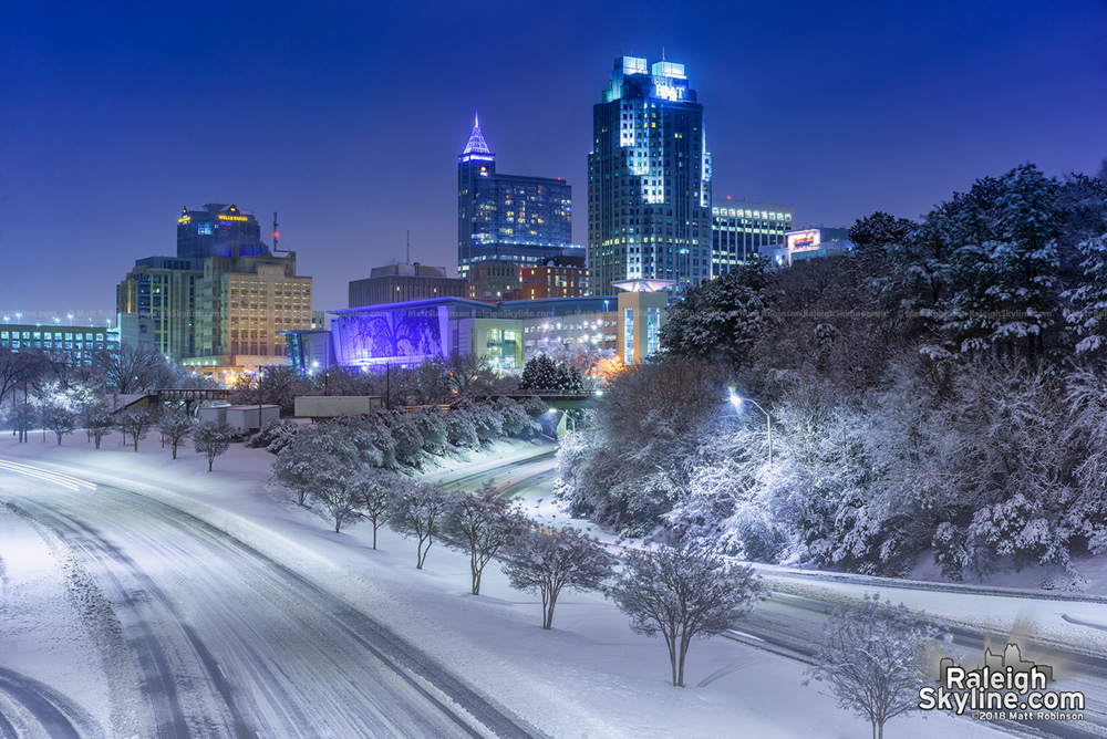 The Great Raleigh Snowstorm of 2018 with downtown Raleigh Skyline