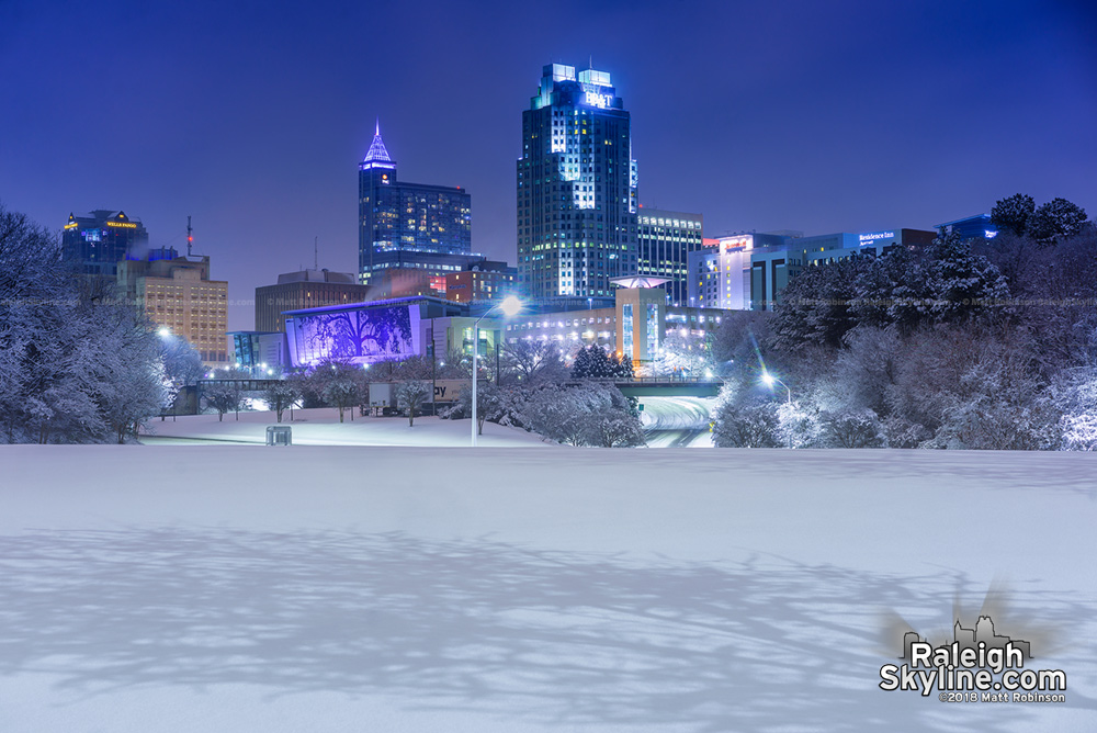 Snow cover with downtown Raleigh