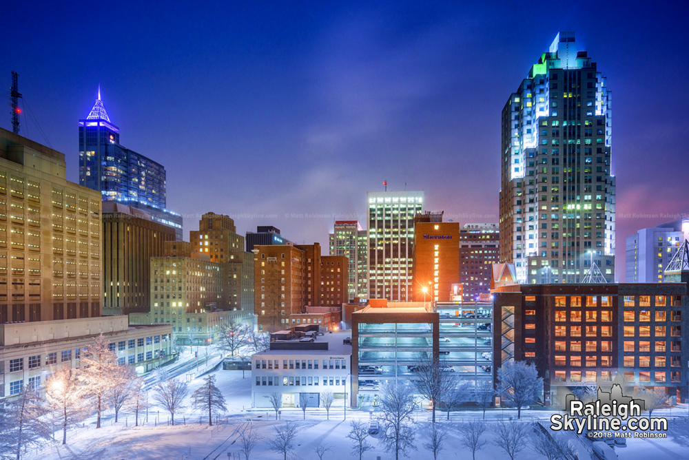 Downtown Raleigh at night after the snowstorm
