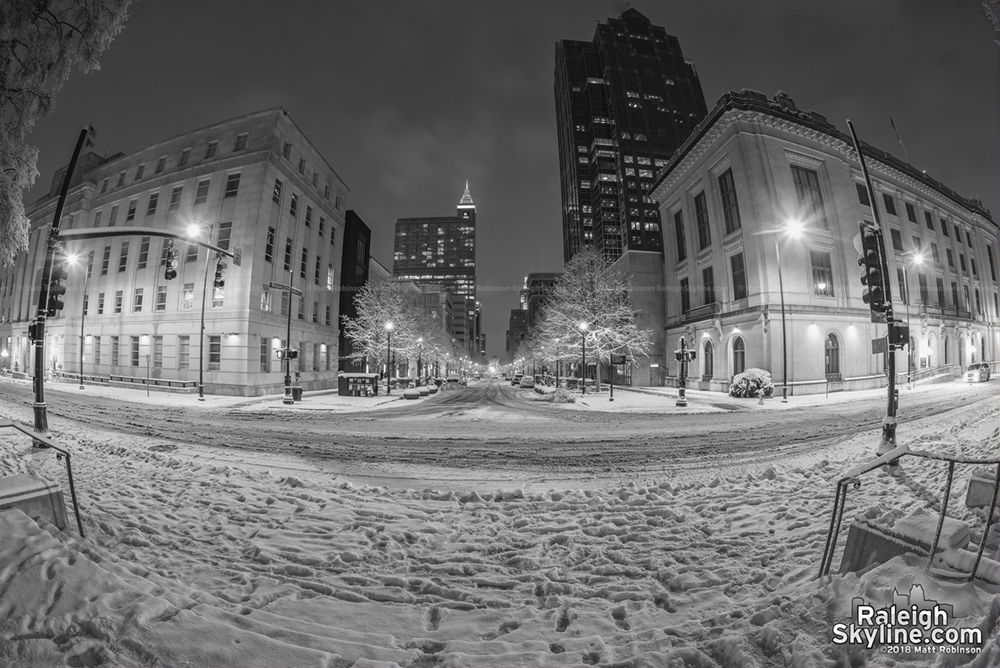 Evening view of Fayetteville Street in Raleigh after the snowstorm.