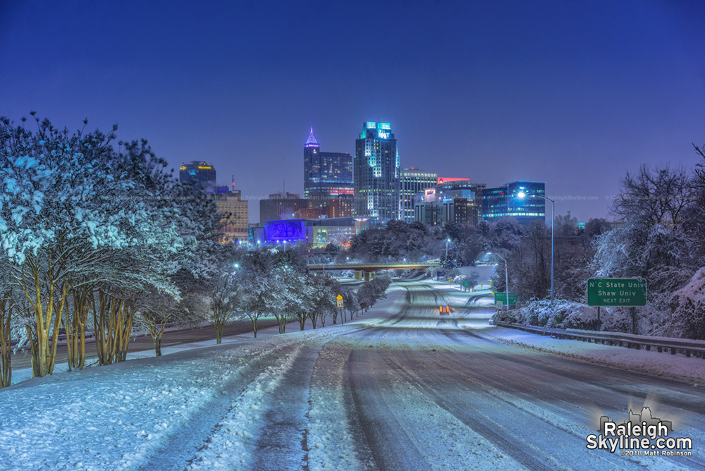 Downtown Raleigh winter wonderland after the snowstorm at night