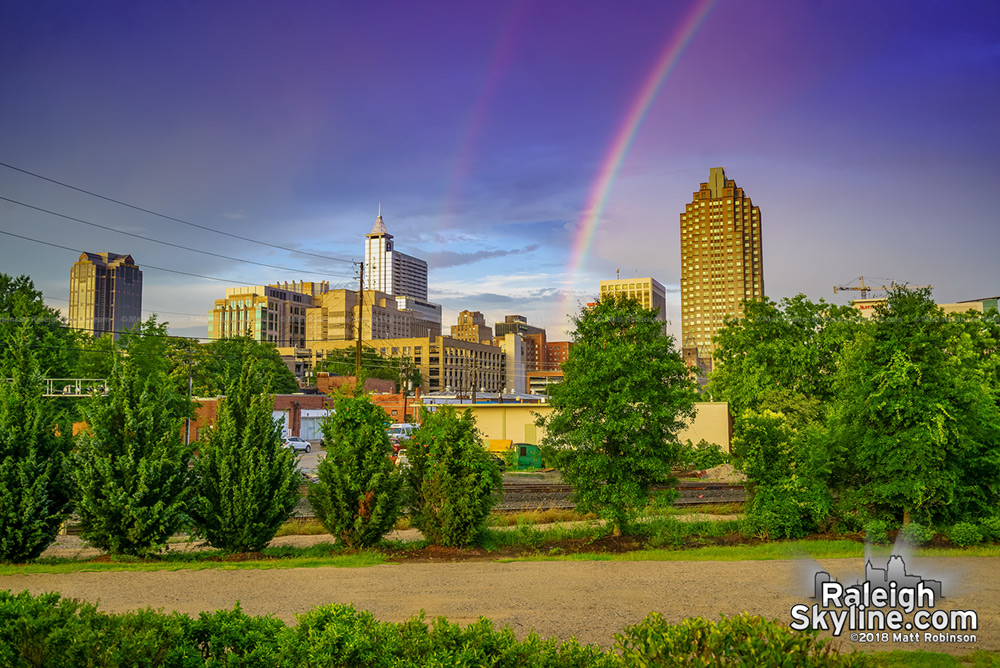 Rainbow comes down into Raleigh Skyline