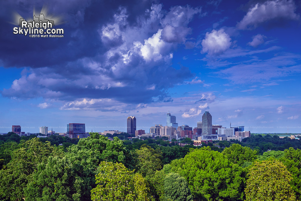View of Downtown Raleigh from top floor of Dorothea Dix Hospital