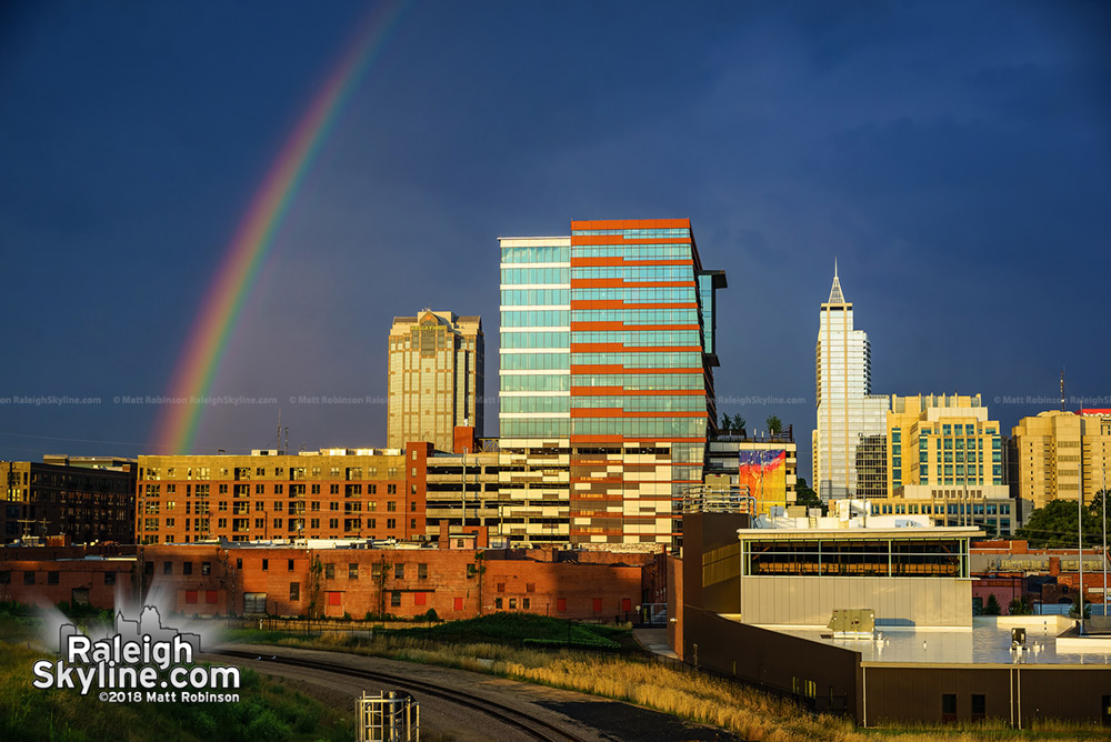 Colorful rainbow and downtown Raleigh
