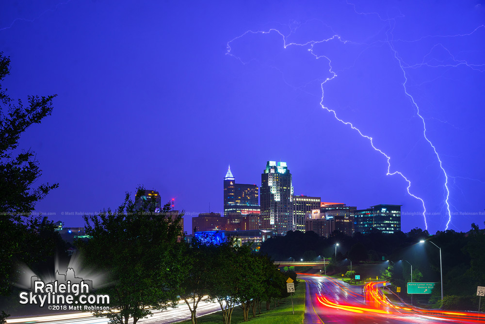 Lightning over downtown Raleigh